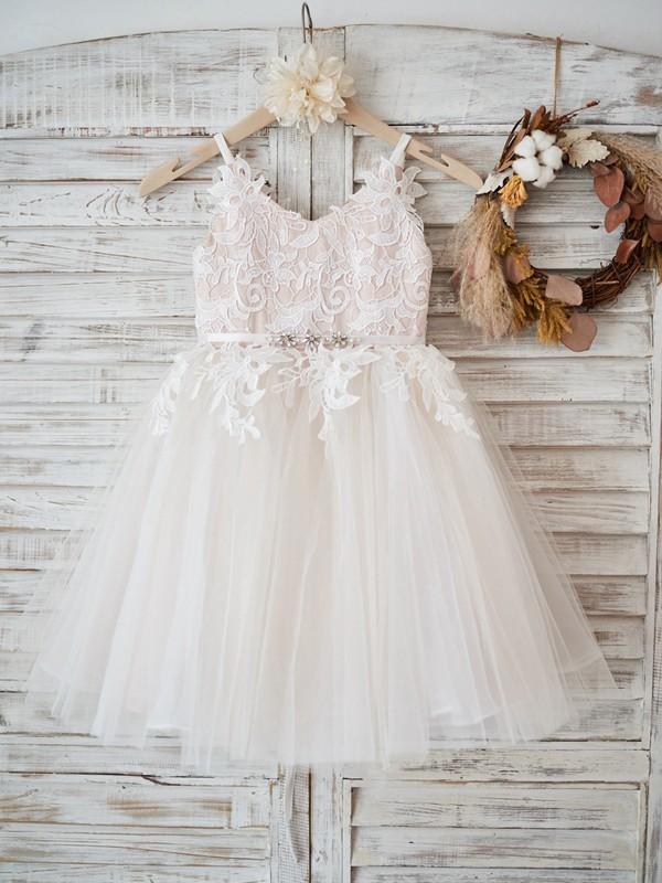 Cute A-Line Tulle Lace V-neck Knee-Length Flower Girl Dresses