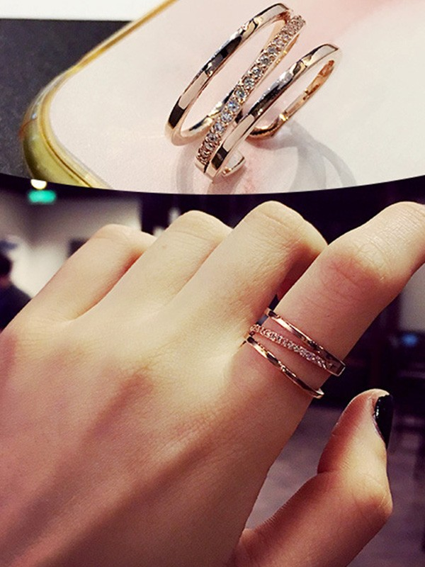 Beautiful Copper With Zircon Hot Sale Adjustable Rings