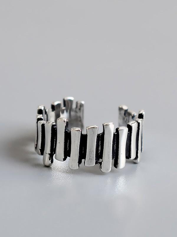 Vintage Irregular 925 Sterling Silver Adjustable Rings