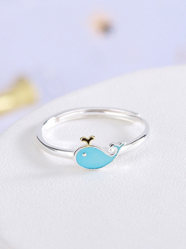 Cute 925 Sterling Silver With Whale Adjustable Rings