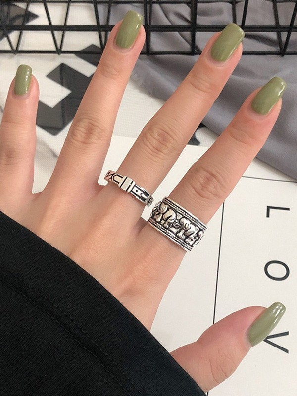 Fashion S925 Silver With Roman Numerals Adjustable Rings