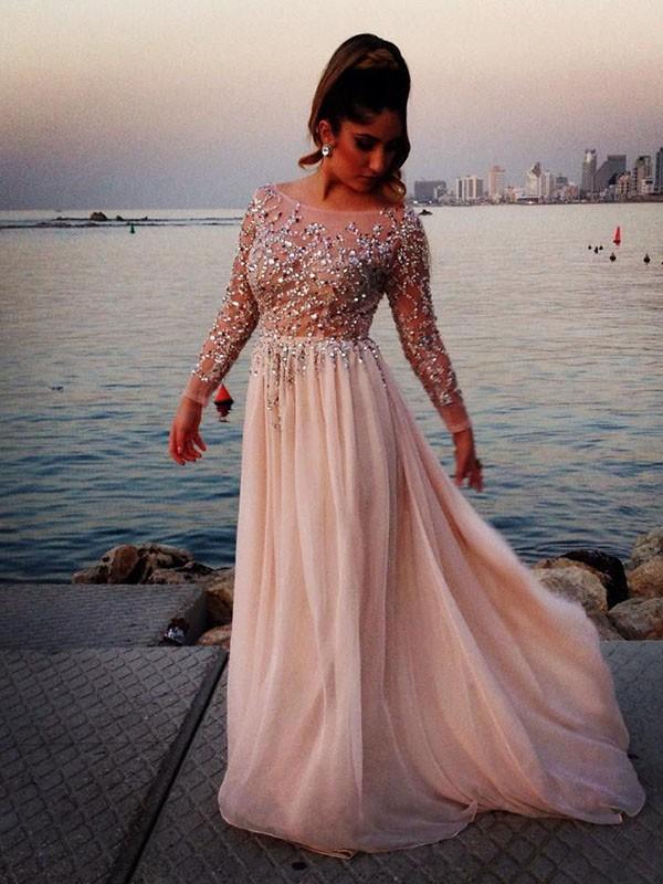 Pretty Looks Long Sleeves Princess Style Bateau Beading Sweep/Brush Train Chiffon Dress