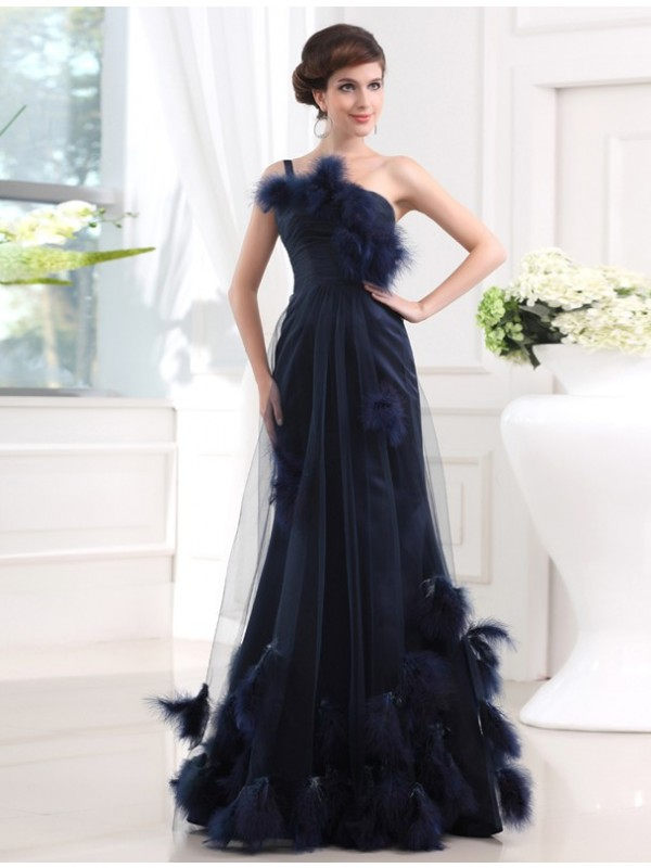 Open to Adoration Mermaid Style One-shoulder Long Satin Tulle Feathers/Fur Dresses