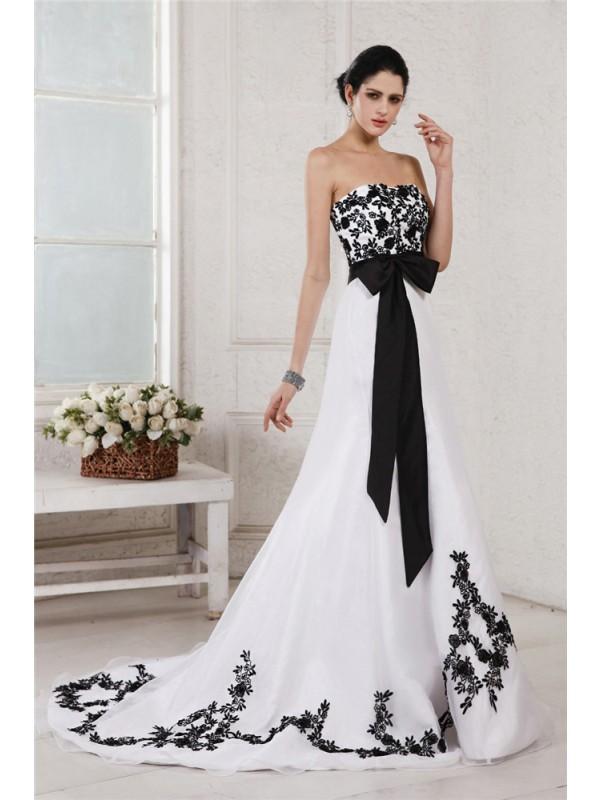 Confident Option Princess Style Sweetheart Embroidery Sash Long Net Satin Wedding Dresses