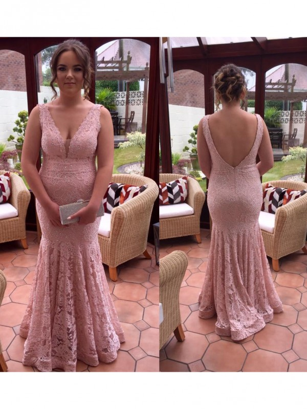 Time to Shine Mermaid Style V-neck With Beading Floor-Length Lace Plus Size Dresses