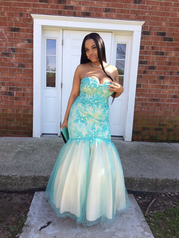 Pretty Looks Mermaid Style Sweetheart With Applique Floor-Length Tulle Plus Size Dresses