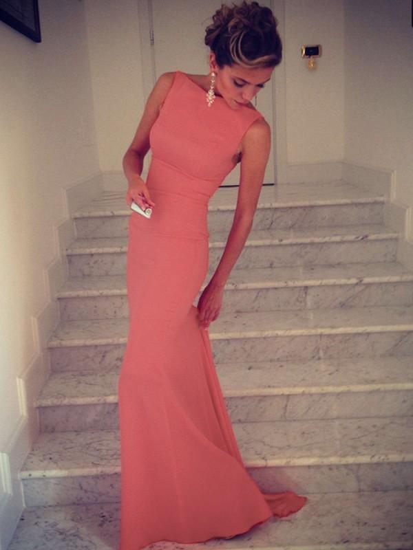 Visual Moment Mermaid Style High Neck Spandex Floor-Length Dresses