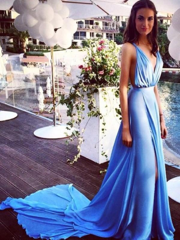 Stylish Refresh Princess Style Spaghetti Straps Chiffon Pleats Court Train Dresses