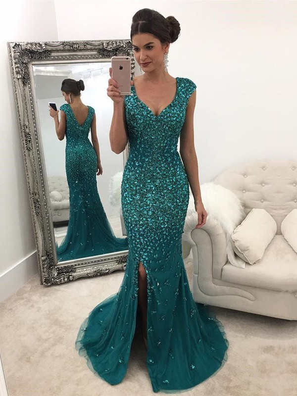 Visual Moment Princess Style V-Neck Sweep/Brush Train With Sequin Tulle Dresses
