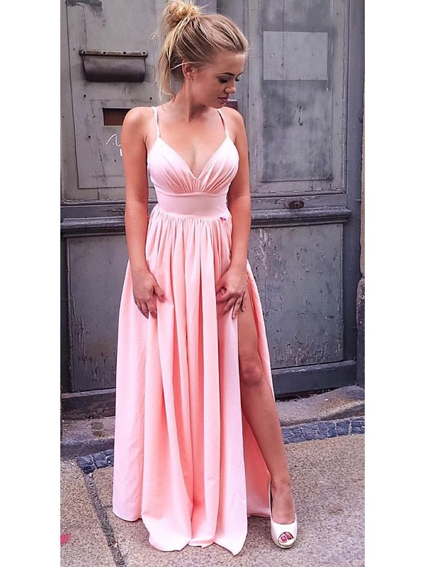 Memorable Magic Princess Style Straps Floor-Length With Ruched Silk like Satin Dresses