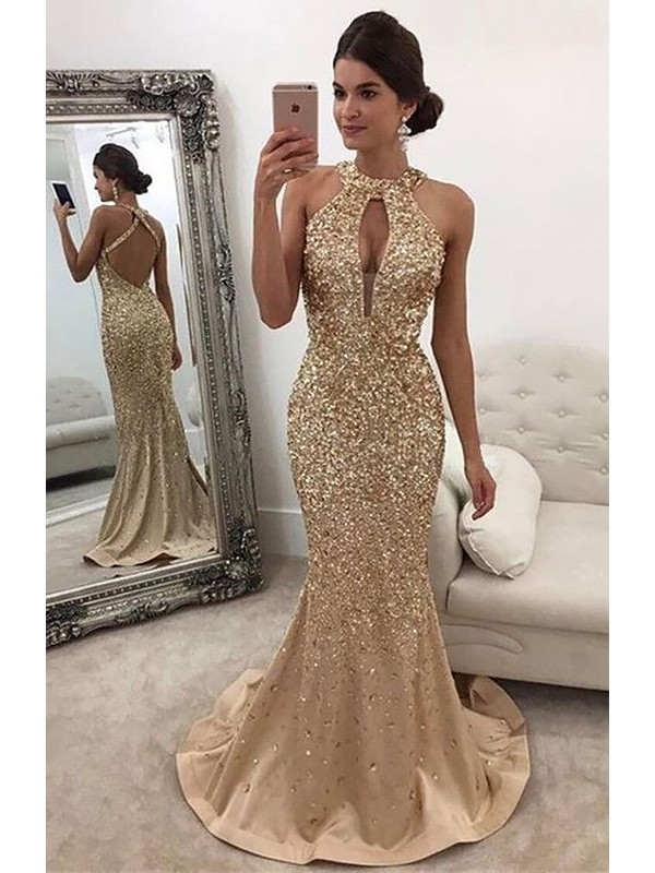 Stylish Refresh Mermaid Style Halter With Sequin Sweep/Brush Train Satin Dresses