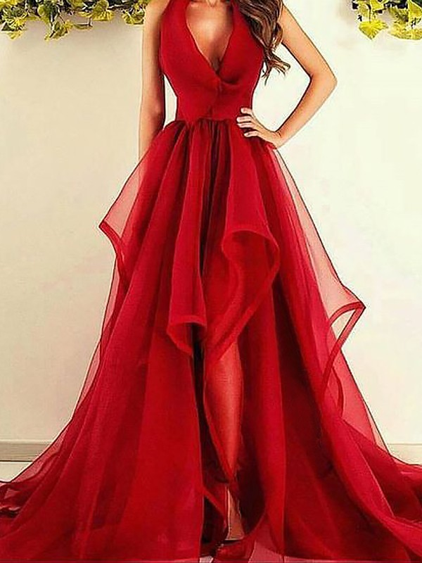 Absolute Lovely Princess Style V-Neck Asymmetrical With Ruffles Organza Dresses