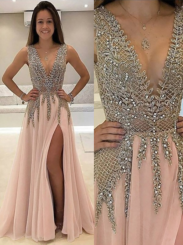 Limitless Looks Princess Style V-Neck Sweep/Brush Train With Beading Tulle Dresses