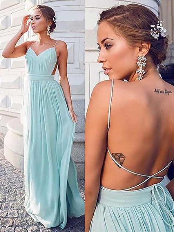 Absolute Lovely Princess Style Spaghetti Straps Floor-Length With Ruched Chiffon Dresses