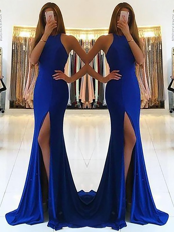 Limitless Looks Sheath Style Halter Sweep/Brush Train With Ruffles Jersey Dresses
