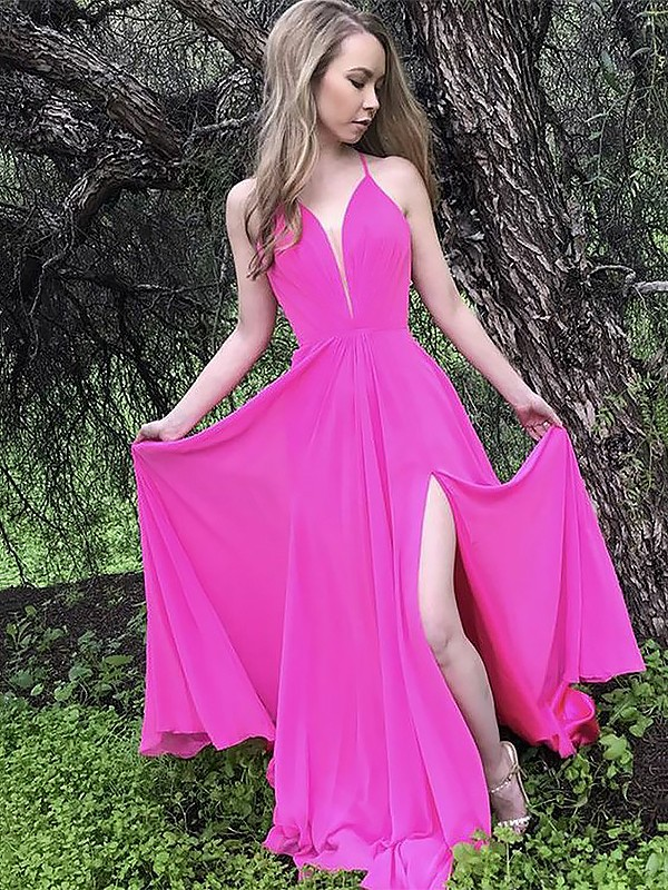 Open to Adoration Princess Style Spaghetti Straps Sweep/Brush Train With Ruffles Chiffon Dresses