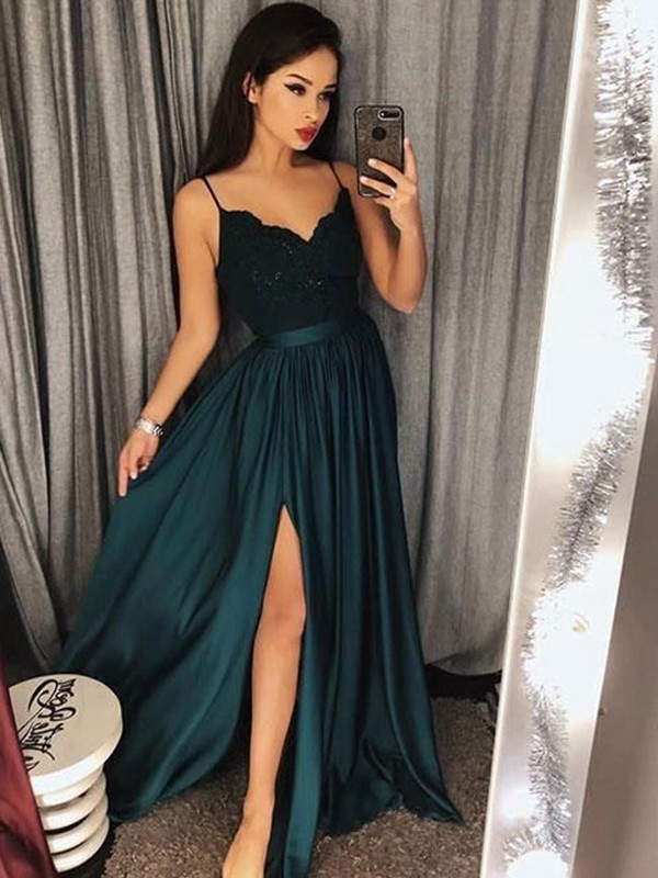 Open to Adoration Princess Style Spaghetti Straps Floor-Length With Lace Silk like Satin Dresses