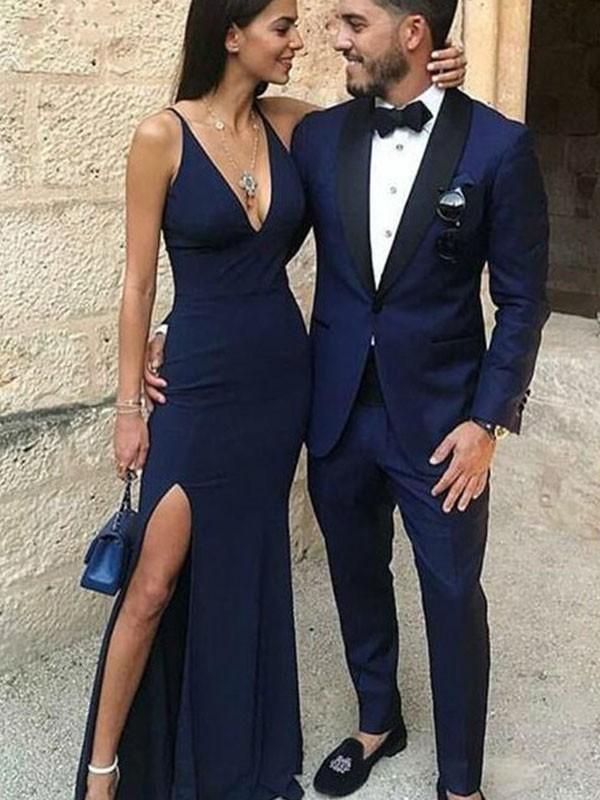 Embracing Grace Sheath Style Straps V-neck Floor-Length Spandex Dresses