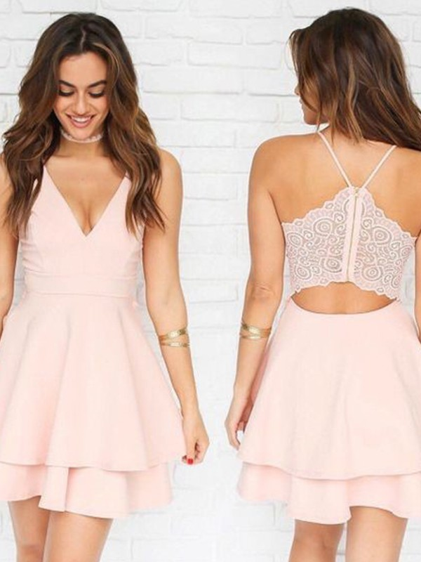 Vibrant Stylist Princess Style V-neck Stretch Crepe Pleats Short/Mini Dresses