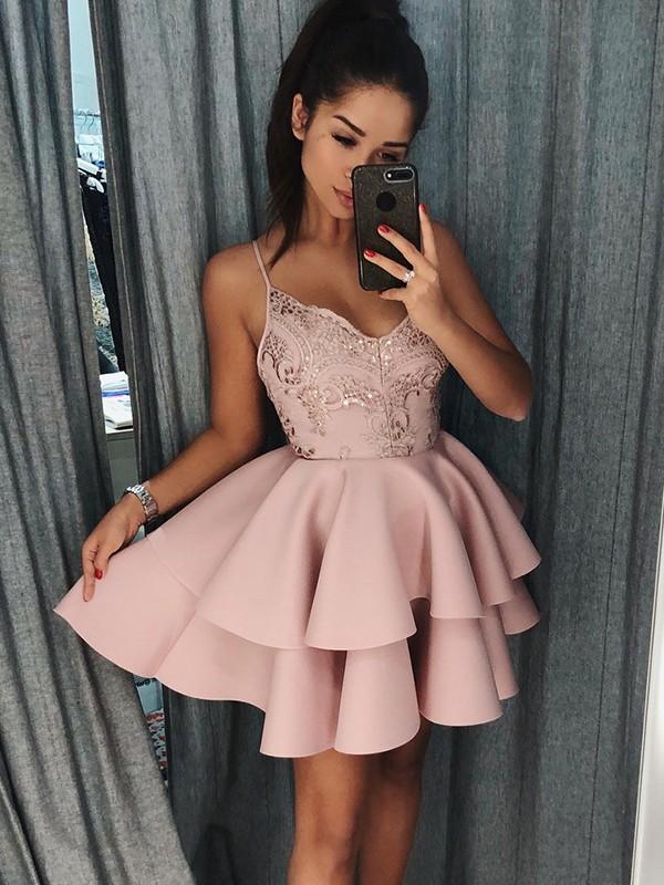 Beautiful You Princess Style Spaghetti Straps Satin Short/Mini Dresses