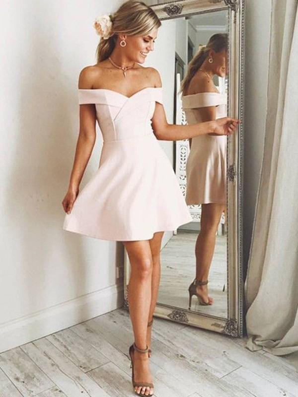 Chic Chic London Princess Style Off-the-Shoulder Satin Short/Mini Dresses