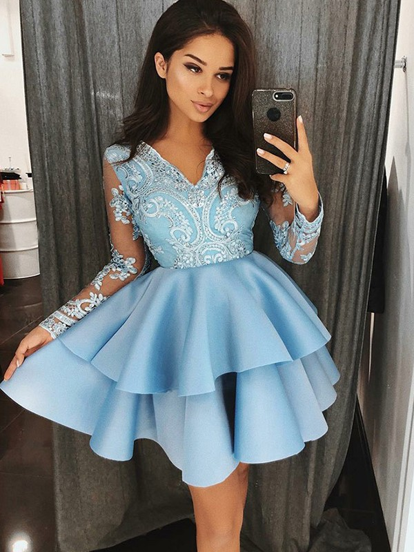 Cordially Delighted Princess Style Satin V-Neck With Applique Short/Mini Dresses