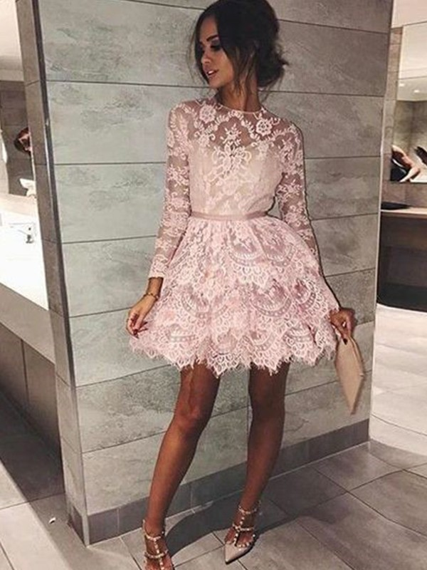 Open to Adoration Princess Style Bateau With Beading Lace Short/Mini Dresses