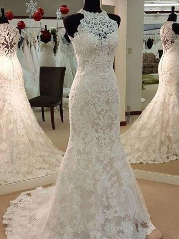 Lively Identity Sheath Style Scoop Sweep/Brush Train With Applique Lace Wedding Dresses