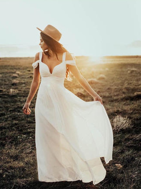 Naturally Chic Princess Style V-neck Straps Floor-Length With Ruffles Chiffon Wedding Dresses