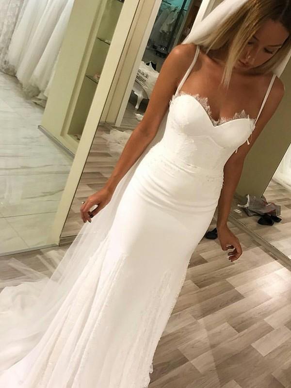 Intuitive Impact Sheath Style Sweetheart Spaghetti Straps Sweep/Brush Train Lace Wedding Dresses