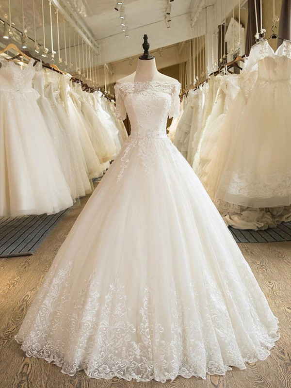 Just My Style Ball Gown Off-the-Shoulder Floor-Length With Applique Lace Tulle Wedding Dresses
