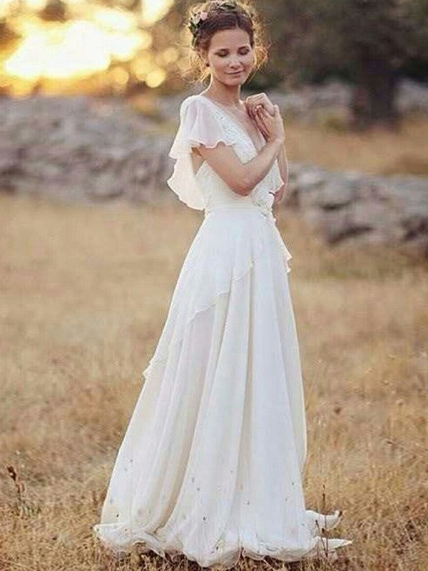Cheerful Spirit Princess Style Chiffon V-neck With Ruched Floor-Length Wedding Dresses