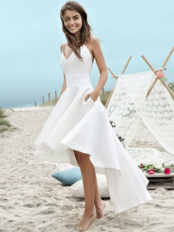 Time to Shine Princess Style Satin With Ruched Spaghetti Straps Asymmetrical Wedding Dresses