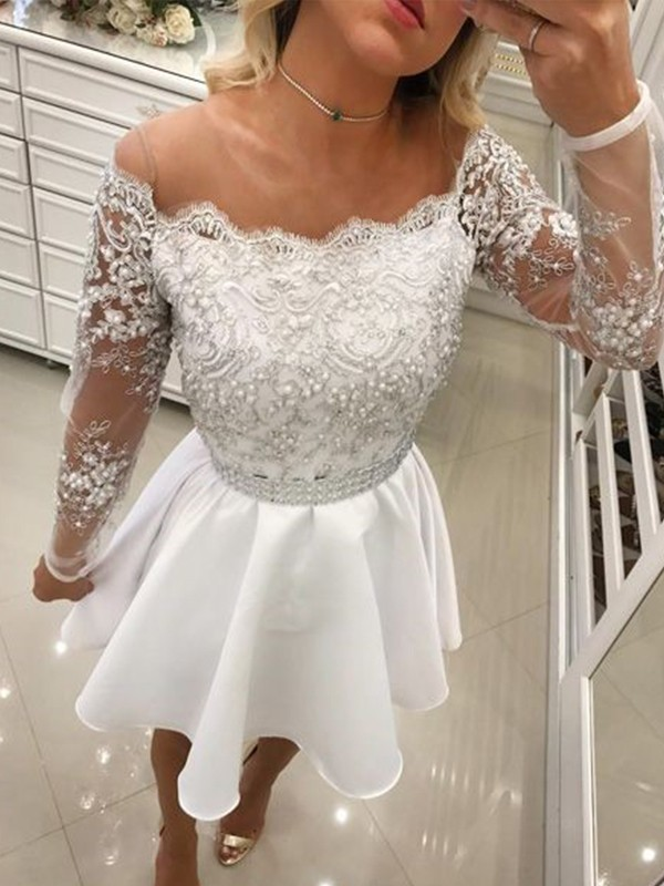 Visual Moment Princess Style Off-the-Shoulder Chiffon With Beading Short/Mini Dresses