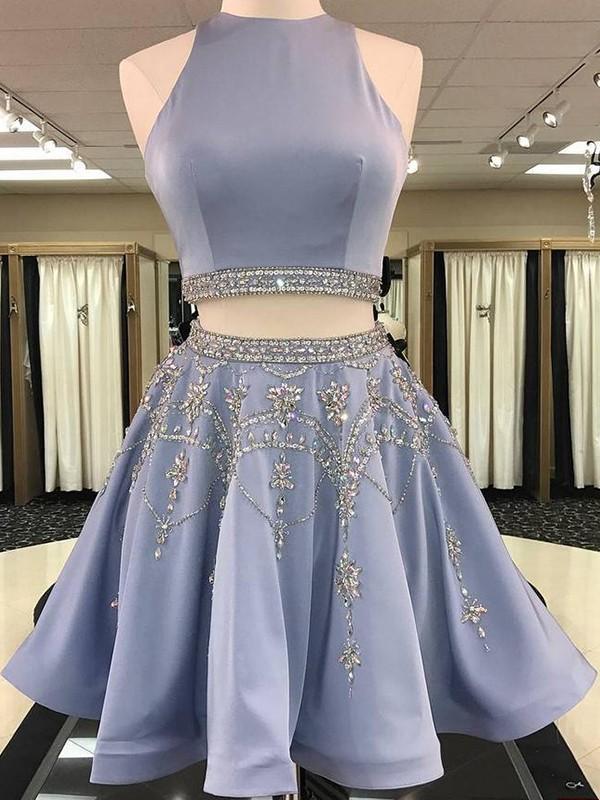 Glitz the Spot Princess Style Bateau Satin With Beading Short/Mini Two Piece Dresses