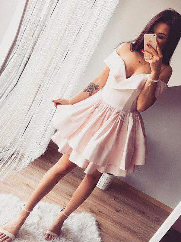 Styled to Smile Princess Style Off-the-Shoulder Satin Knee-Length Dresses