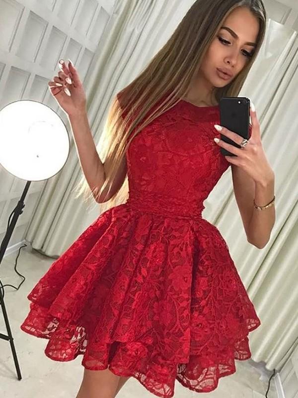 Cheerful Spirit Princess Style Scoop Lace Short/Mini Dresses