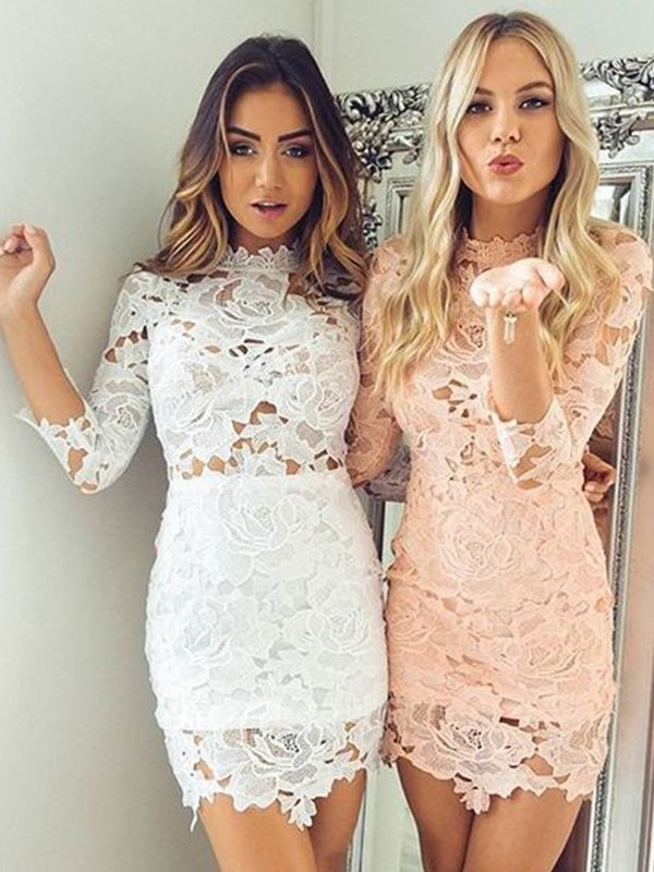 Limitless Looks Sheath Style Lace With Applique High Neck Short/Mini Dresses