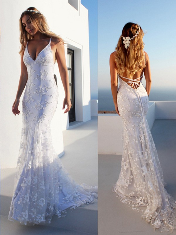 Limitless Looks Mermaid Style Spaghetti Straps Lace Court Train Lace Wedding Dresses