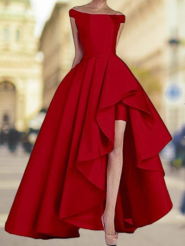 Fabulous Fit Princess Style Off-the-Shoulder Asymmetrical Satin Dresses