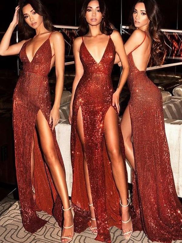 Defined Shine Sheath Style V-neck Sweep/Brush Train Sequins Dresses