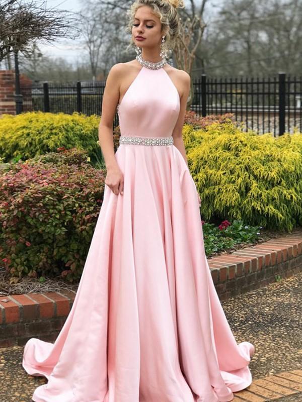 Savor the Occasion Princess Style Halter Sweep/Brush Train Beading Satin Dresses