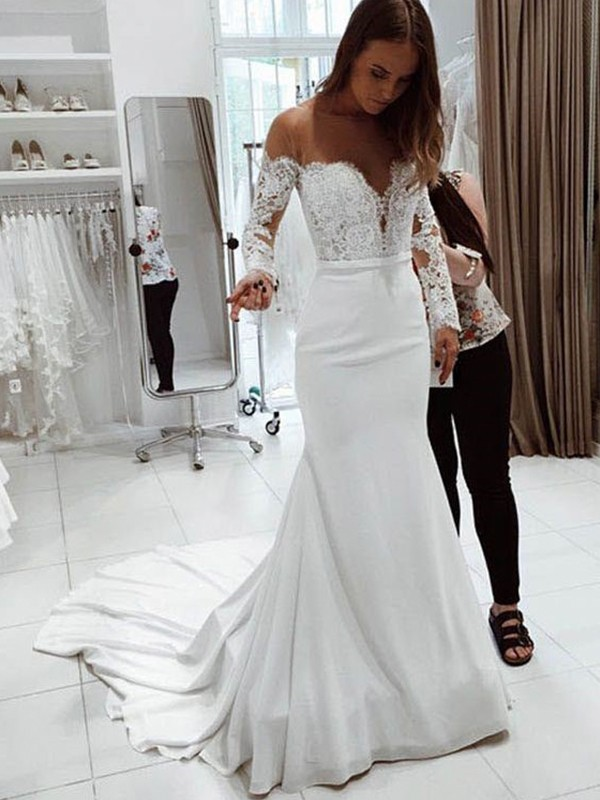 Cordially Delighted Trumpet/Mermaid Off-the-Shoulder Long Sleeves Court Train Lace Chiffon Wedding Dresses