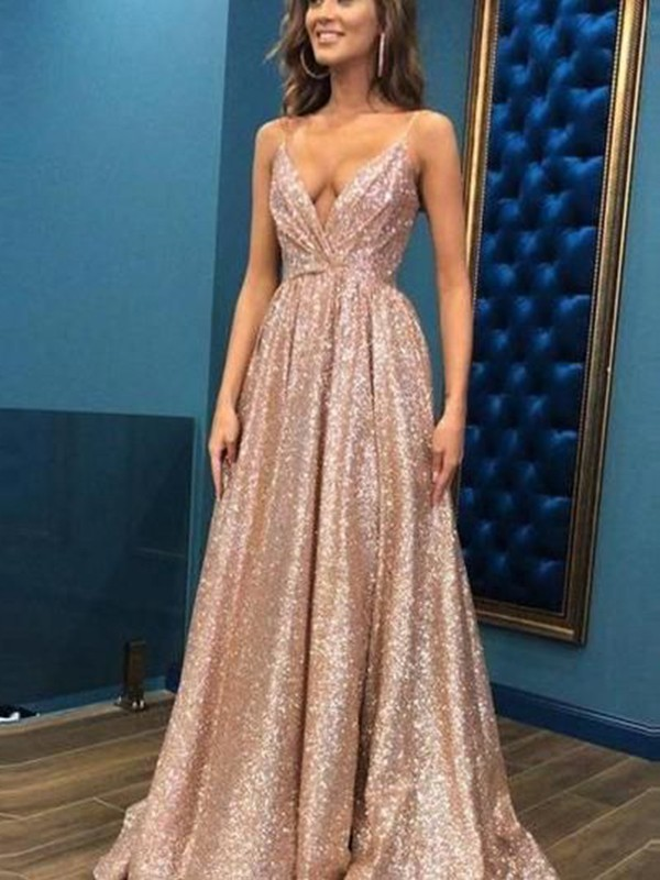 Limitless Looks Princess Style Spaghetti Straps Floor-Length Sequins Dresses