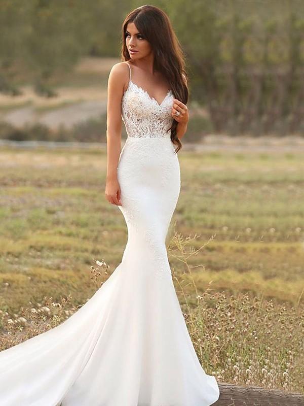 Stylish Refresh Mermaid Style Stretch Crepe With Applique Spaghetti Straps Sweep/Brush Train Wedding Dresses