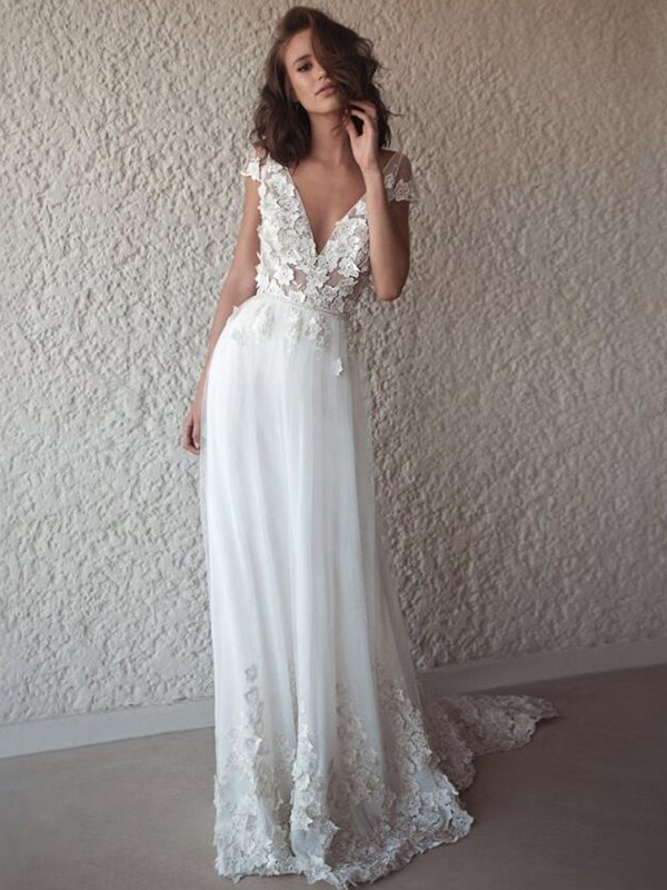 Just My Style Princess Style Tulle With Applique V-neck Sweep/Brush Train Wedding Dresses