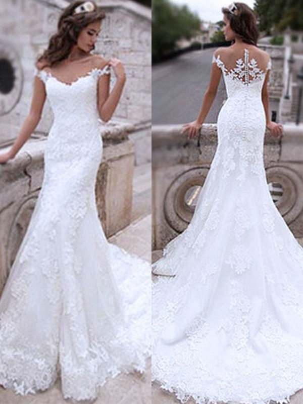 Beautiful You Mermaid Style Tulle With Applique Off-the-Shoulder Sweep/Brush Train Wedding Dresses