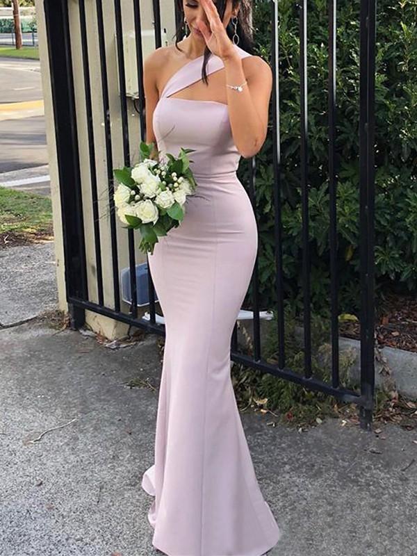 Efflorescent Dreams Sheath Style One-Shoulder Floor-Length Stretch Crepe Bridesmaid Dresses