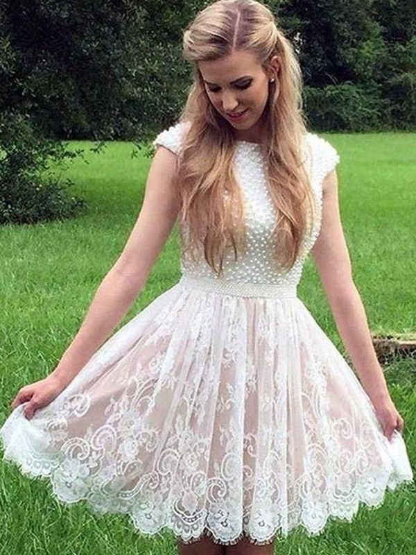 Sweet Sensation Princess Style Lace Pearls Sheer Neck Short/Mini Homecoming Dresses