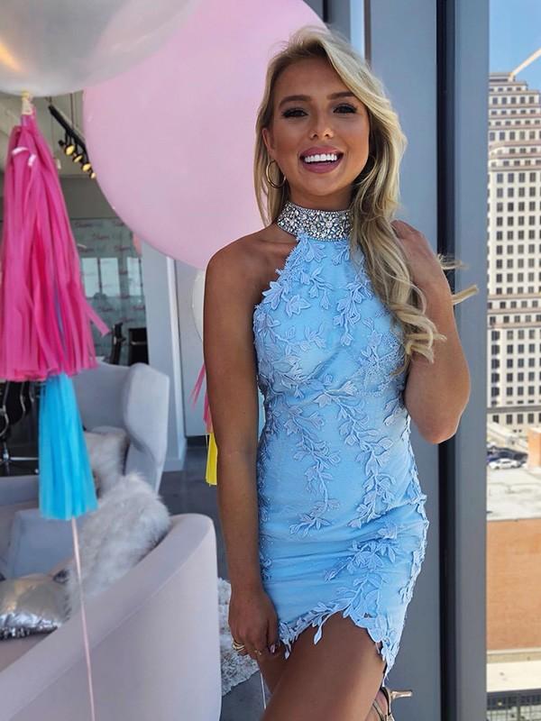 Sweet Sensation Sheath Lace Beading Halter Short Homecoming Dresses